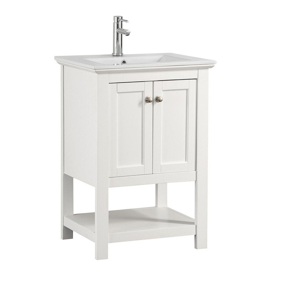 "Fresca Manchester 24"" Traditional Bathroom Vanity Fresca 24 inch Single Vanity White"