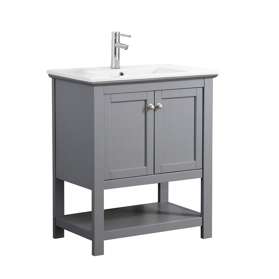 "Fresca Manchester 30"" Traditional Bathroom Vanity Fresca 30 inch Single Vanity Gray"
