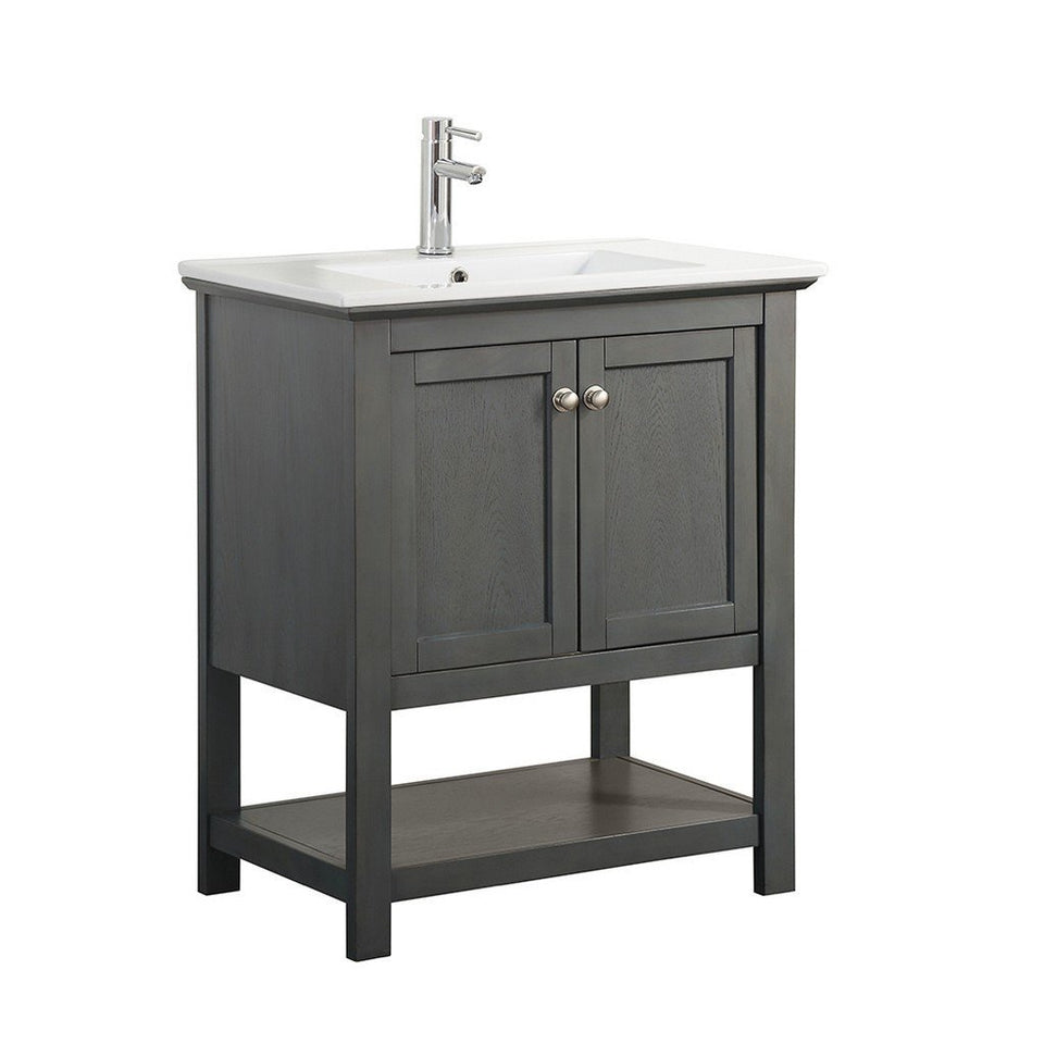 "Fresca Manchester 30"" Traditional Bathroom Vanity Fresca 30 inch Single Vanity Gray Wood Veneer"
