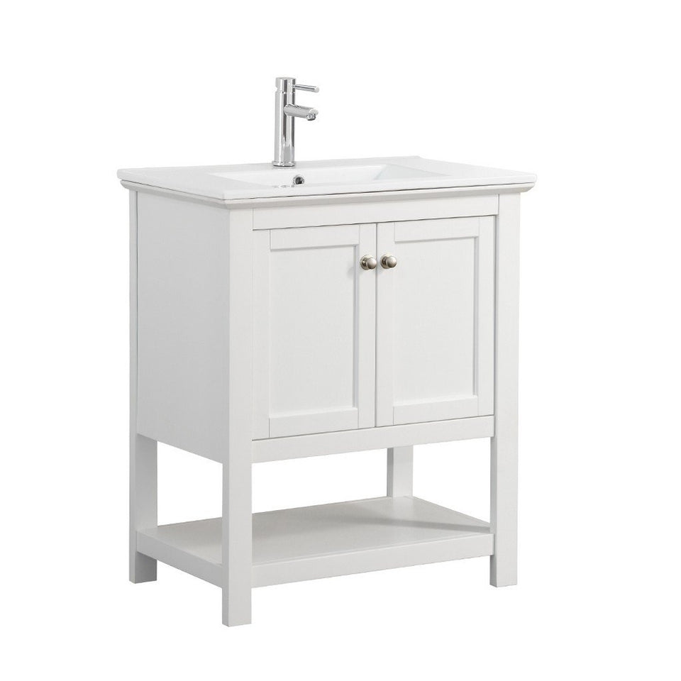 "Fresca Manchester 30"" Traditional Bathroom Vanity Fresca 30 inch Single Vanity White"
