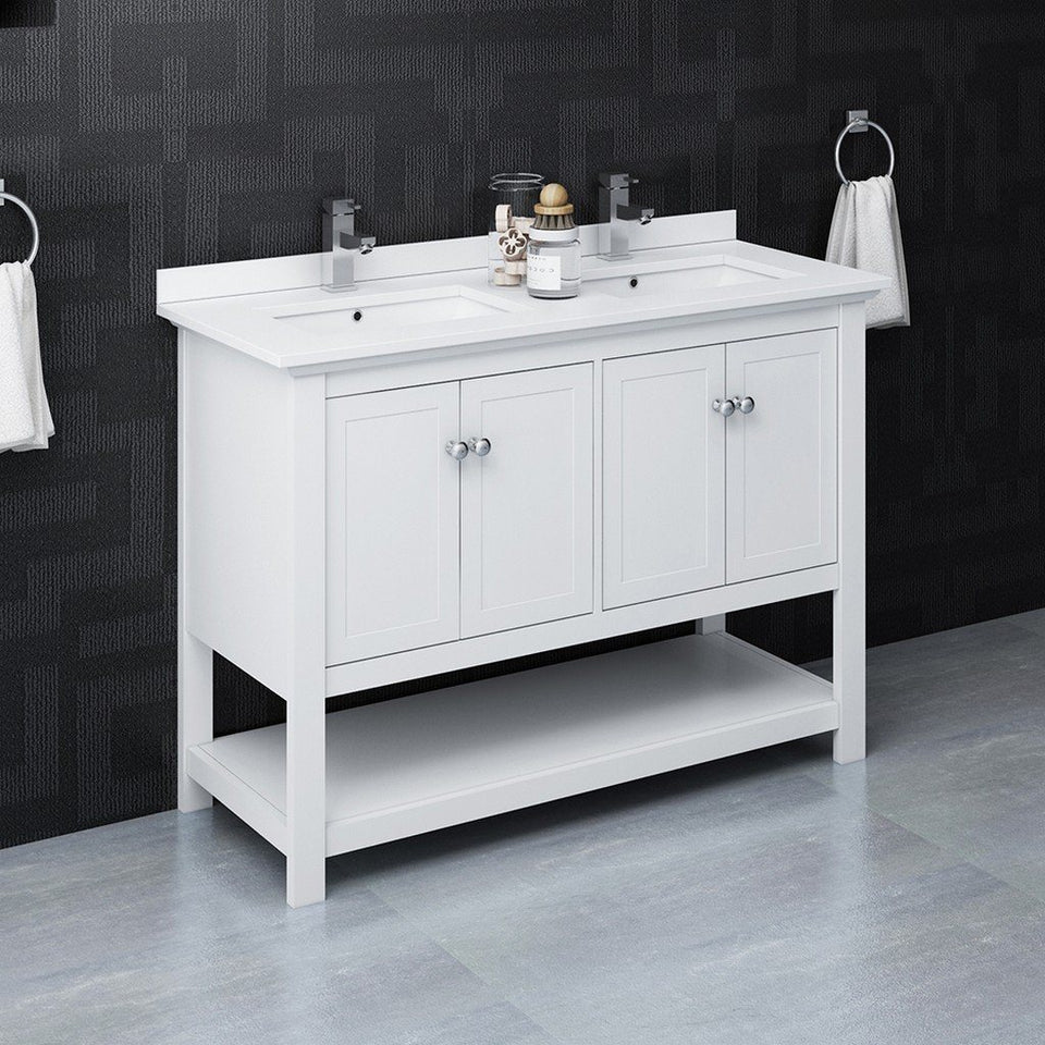 "Fresca Manchester 48"" Traditional Double Sink Bathroom Cabinet with Top & Sinks Fresca 48 inch Double Vanity"