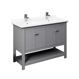 "Fresca Manchester 48"" Traditional Double Sink Bathroom Cabinet with Top & Sinks Fresca 48 inch Double Vanity Gray"