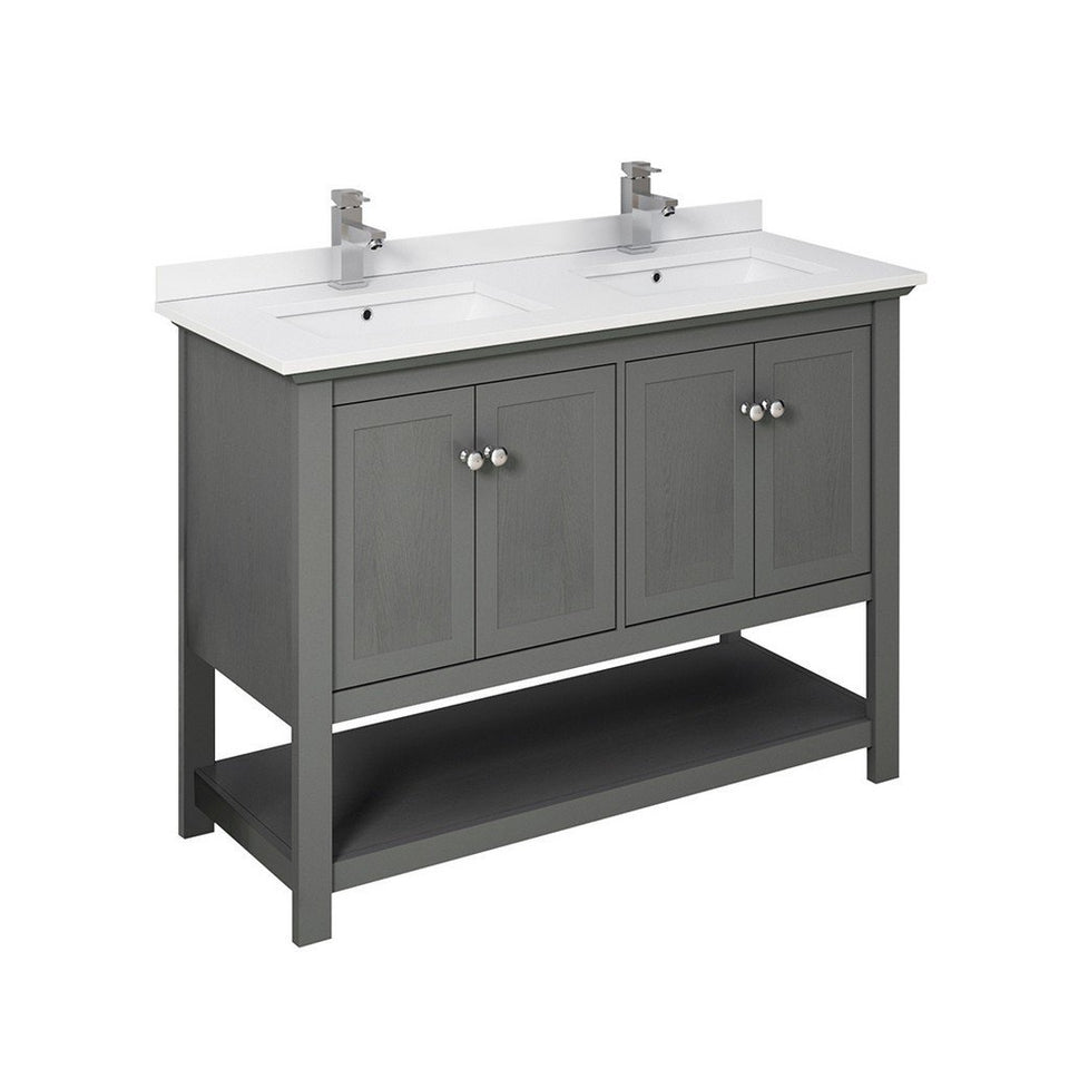 "Fresca Manchester 48"" Traditional Double Sink Bathroom Cabinet with Top & Sinks Fresca 48 inch Double Vanity Gray Wood Veneer"