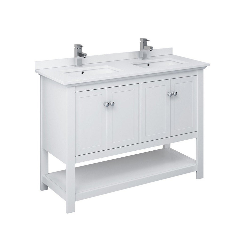 "Fresca Manchester 48"" Traditional Double Sink Bathroom Cabinet with Top & Sinks Fresca 48 inch Double Vanity White"