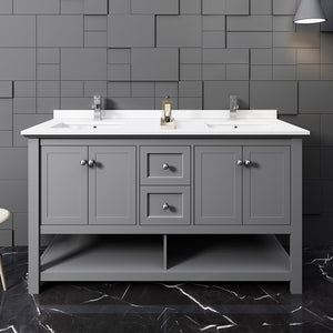 "Fresca Manchester 60"" Traditional Double Sink Bathroom Cabinet with Top & Sinks Fresca 60 inch Double Vanity"