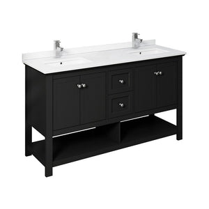 "Fresca Manchester 60"" Traditional Double Sink Bathroom Cabinet with Top & Sinks Fresca 60 inch Double Vanity Black"