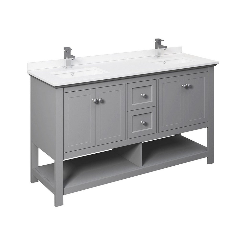 "Fresca Manchester 60"" Traditional Double Sink Bathroom Cabinet with Top & Sinks Fresca 60 inch Double Vanity Gray"
