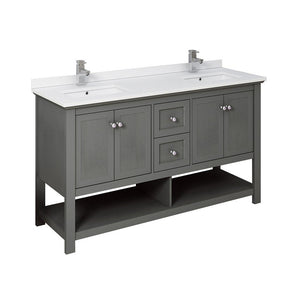 "Fresca Manchester 60"" Traditional Double Sink Bathroom Cabinet with Top & Sinks Fresca 60 inch Double Vanity Gray Wood Veneer"