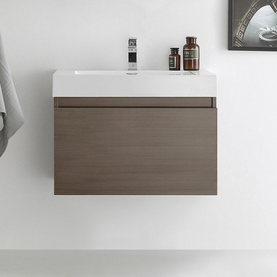 "Fresca Mezzo 30"" Wall Hung Modern Bathroom Cabinet with Integrated Sink Fresca 30 inch Single Vanity"