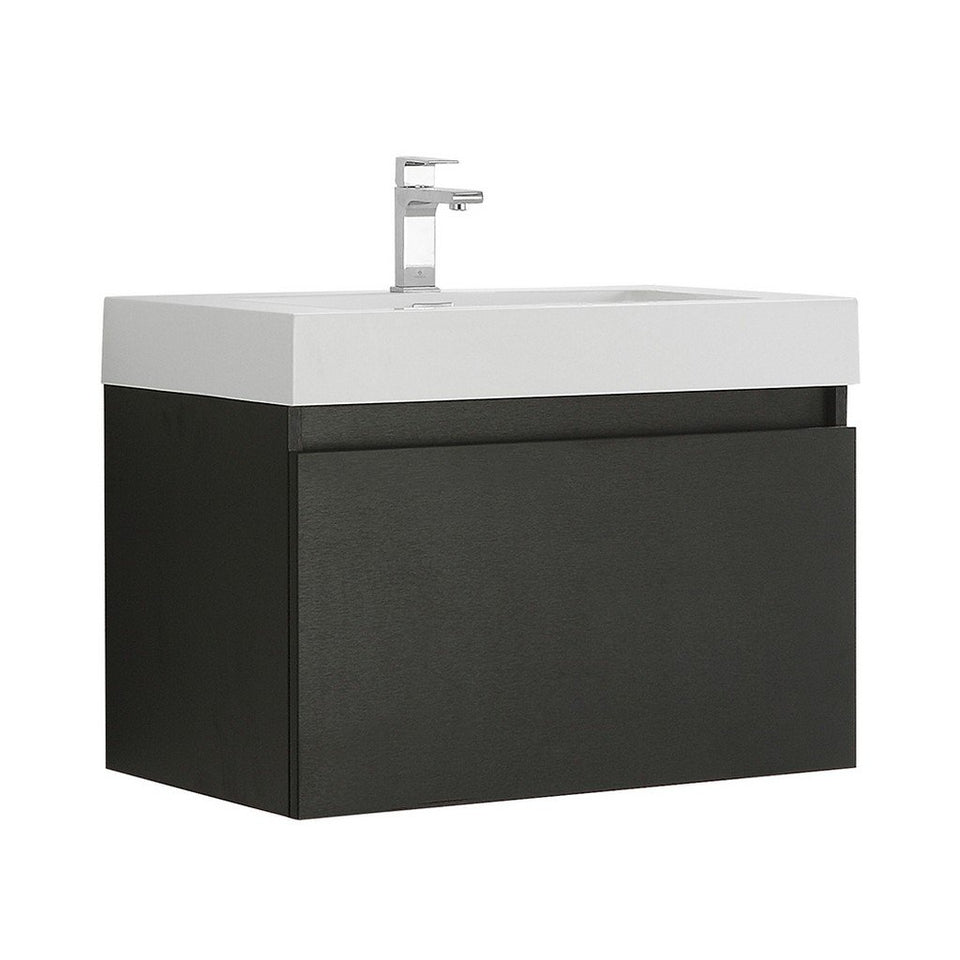 "Fresca Mezzo 30"" Wall Hung Modern Bathroom Cabinet with Integrated Sink Fresca 30 inch Single Vanity Black"