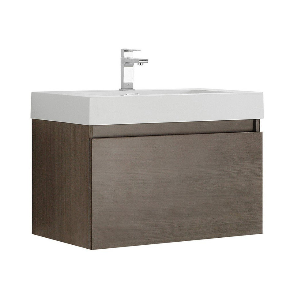"Fresca Mezzo 30"" Wall Hung Modern Bathroom Cabinet with Integrated Sink Fresca 30 inch Single Vanity Gray Oak"