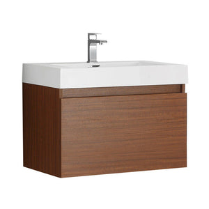 "Fresca Mezzo 30"" Wall Hung Modern Bathroom Cabinet with Integrated Sink Fresca 30 inch Single Vanity Teak"