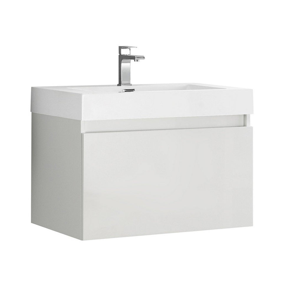 "Fresca Mezzo 30"" Wall Hung Modern Bathroom Cabinet with Integrated Sink Fresca 30 inch Single Vanity White"