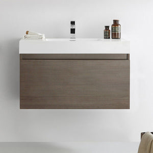 "Fresca Mezzo 36"" Wall Hung Modern Bathroom Cabinet with Integrated Sink Fresca 36 inch Single Vanity"