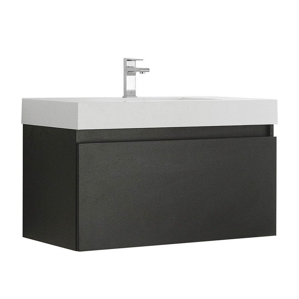"Fresca Mezzo 36"" Wall Hung Modern Bathroom Cabinet with Integrated Sink Fresca 36 inch Single Vanity Black"
