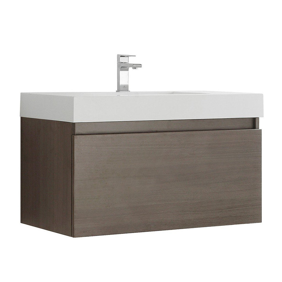 "Fresca Mezzo 36"" Wall Hung Modern Bathroom Cabinet with Integrated Sink Fresca 36 inch Single Vanity Gray Oak"