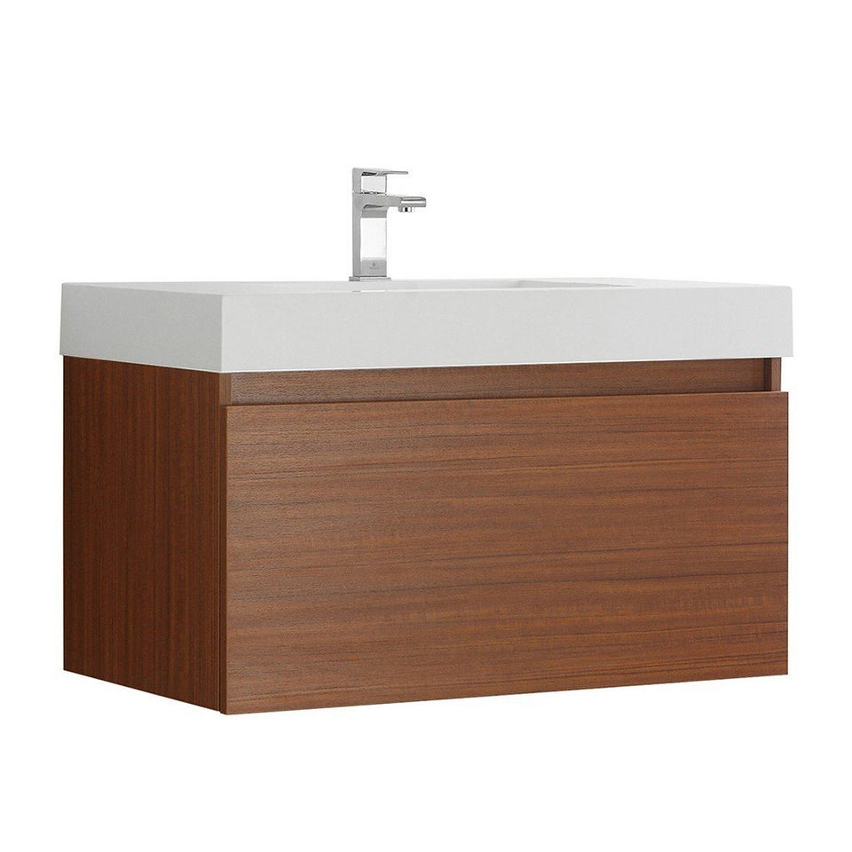 "Fresca Mezzo 36"" Wall Hung Modern Bathroom Cabinet with Integrated Sink Fresca 36 inch Single Vanity Teak"