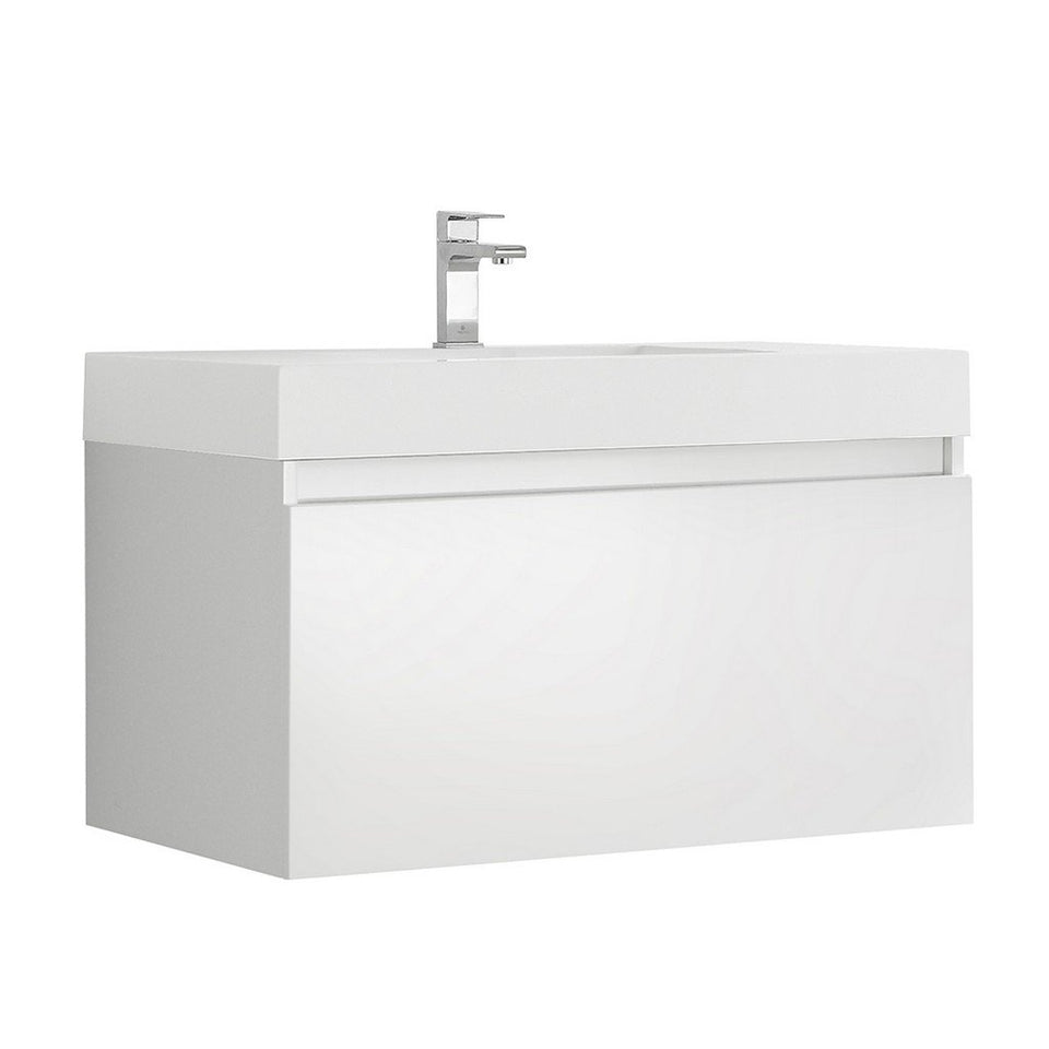 "Fresca Mezzo 36"" Wall Hung Modern Bathroom Cabinet with Integrated Sink Fresca 36 inch Single Vanity White"