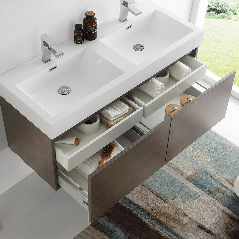 "Fresca Mezzo 48"" Wall Hung Double Sink Modern Bathroom Cabinet with Integrated Sink Fresca 48 inch Double Vanity"