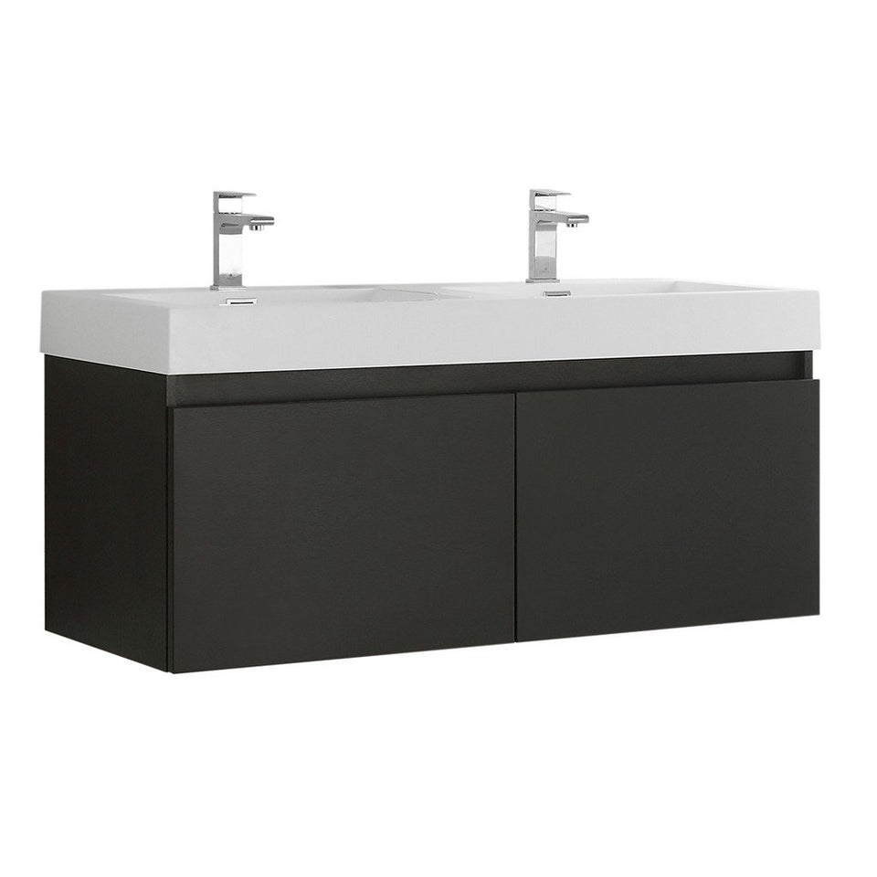 "Fresca Mezzo 48"" Wall Hung Double Sink Modern Bathroom Cabinet with Integrated Sink Fresca 48 inch Double Vanity Black"