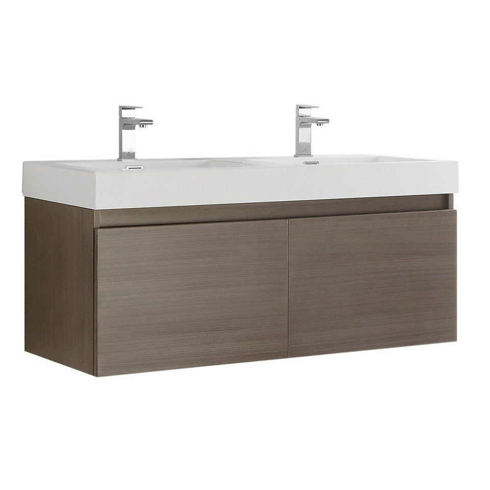"Fresca Mezzo 48"" Wall Hung Double Sink Modern Bathroom Cabinet with Integrated Sink Fresca 48 inch Double Vanity Gray Oak"