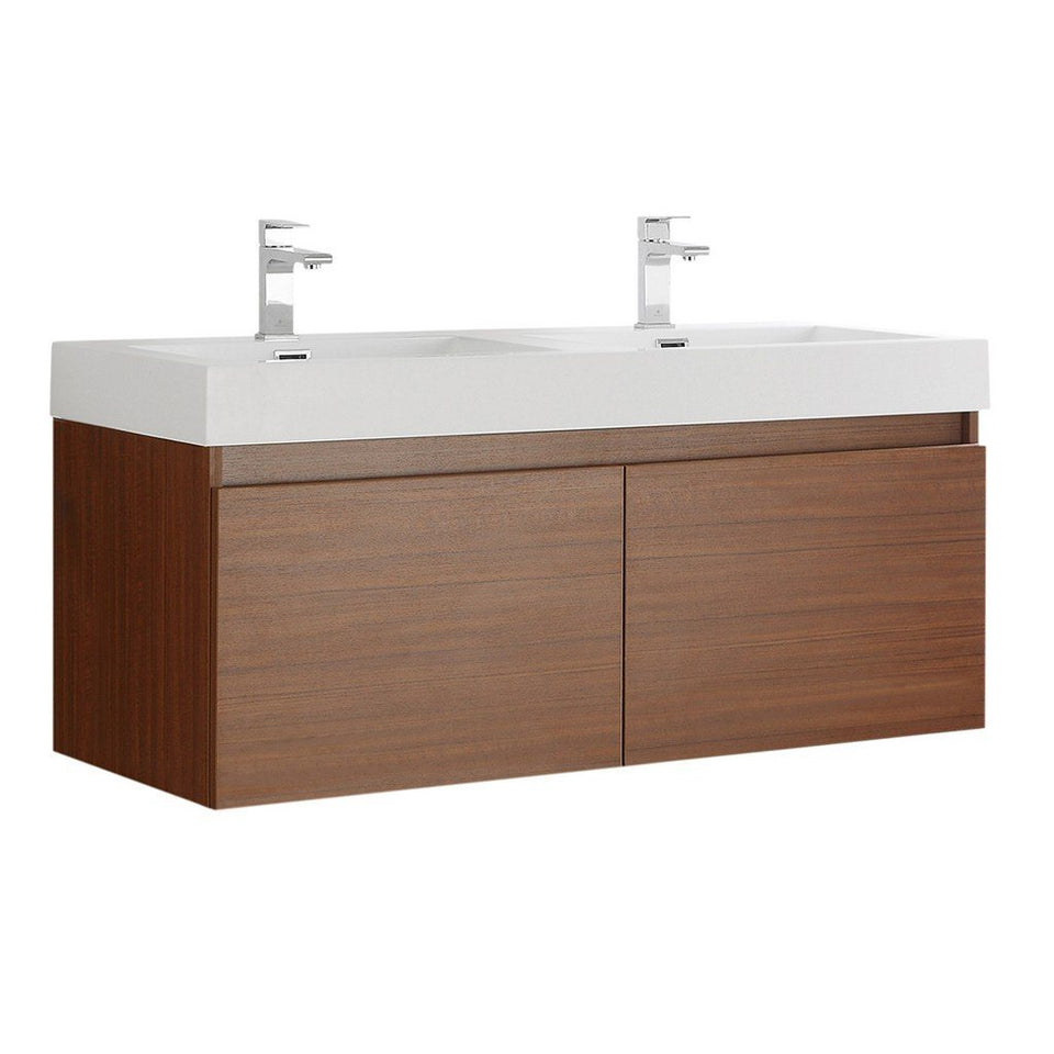"Fresca Mezzo 48"" Wall Hung Double Sink Modern Bathroom Cabinet with Integrated Sink Fresca 48 inch Double Vanity Teak"