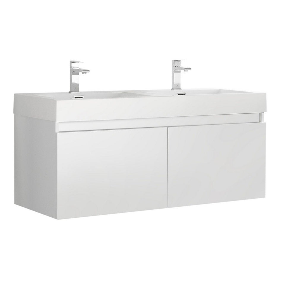 "Fresca Mezzo 48"" Wall Hung Double Sink Modern Bathroom Cabinet with Integrated Sink Fresca 48 inch Double Vanity White"