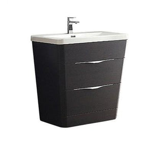 "Fresca Milano 32"" Modern Bathroom Cabinet with Integrated Sink Fresca 32 inch Single Vanity Chestnut"