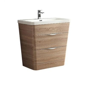 "Fresca Milano 32"" Modern Bathroom Cabinet with Integrated Sink Fresca 32 inch Single Vanity White Oak"