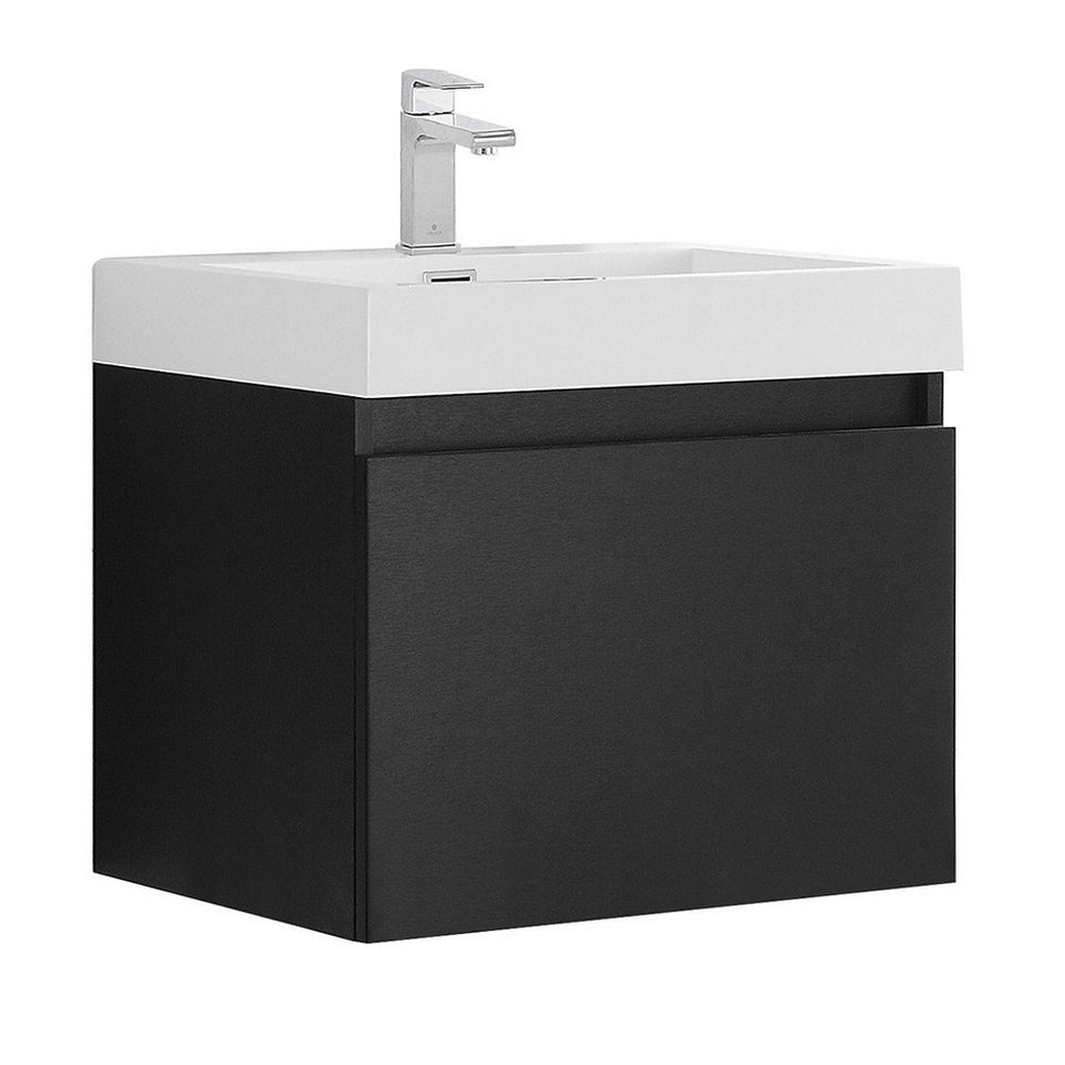 "Fresca Nano 24"" Modern Bathroom Cabinet with Integrated Sink Fresca 24 inch Single Vanity Black"