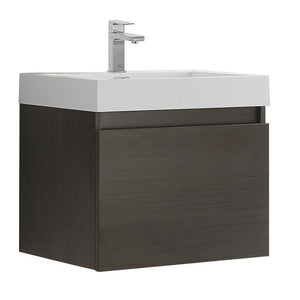 "Fresca Nano 24"" Modern Bathroom Cabinet with Integrated Sink Fresca 24 inch Single Vanity Gray Oak"