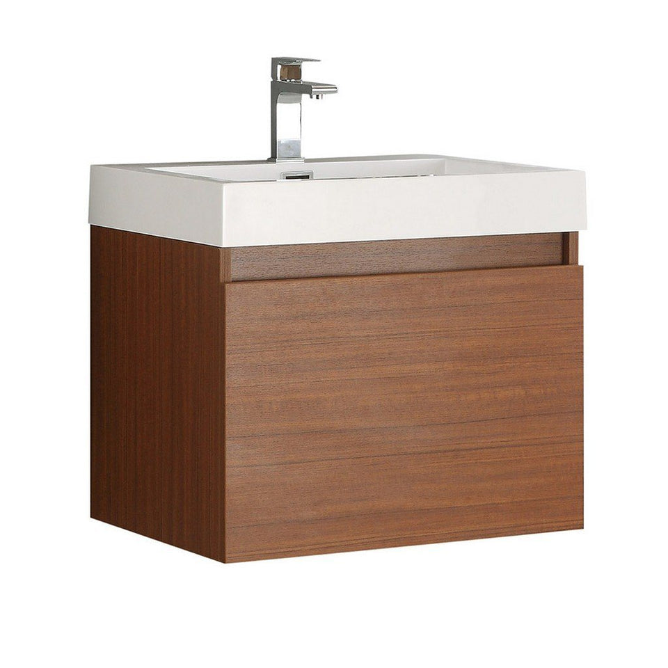 "Fresca Nano 24"" Modern Bathroom Cabinet with Integrated Sink Fresca 24 inch Single Vanity Teak"