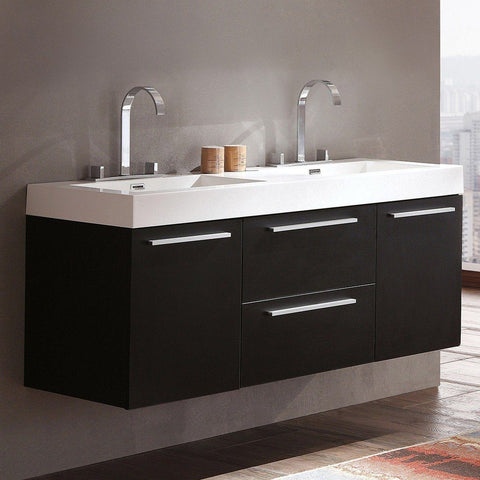 "Fresca Opulento 54"" Modern Double Sink Bathroom Cabinet with Integrated Sinks Fresca 54 inch Double Vanity Black"