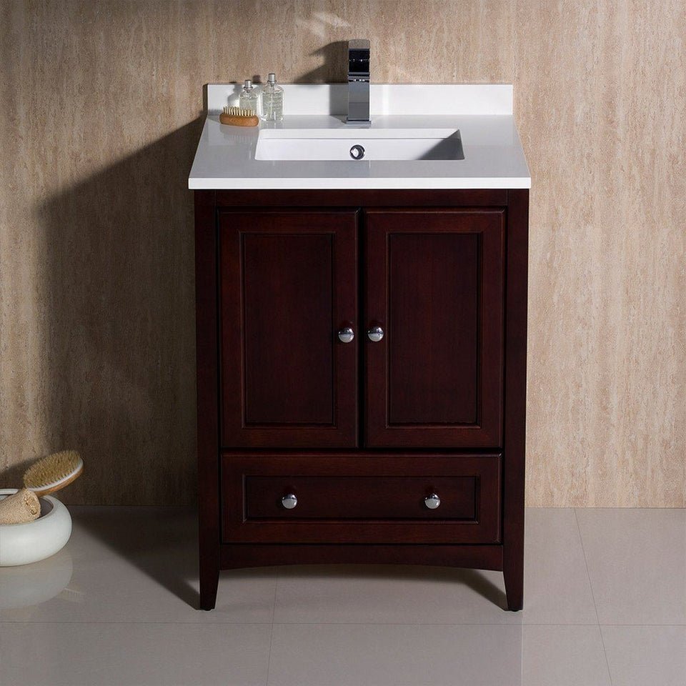 "Fresca Oxford 24"" Traditional Bathroom Cabinet with Top & Sinks Fresca 24 inch Single Vanity"