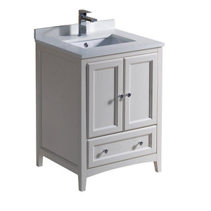 "Fresca Oxford 24"" Traditional Bathroom Cabinet with Top & Sinks Fresca 24 inch Single Vanity Antique White"