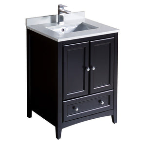 "Fresca Oxford 24"" Traditional Bathroom Cabinet with Top & Sinks Fresca 24 inch Single Vanity Espresso"