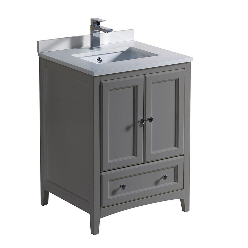 "Fresca Oxford 24"" Traditional Bathroom Cabinet with Top & Sinks Fresca 24 inch Single Vanity Gray"
