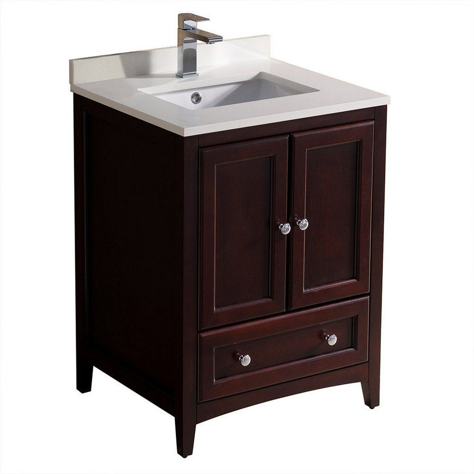"Fresca Oxford 24"" Traditional Bathroom Cabinet with Top & Sinks Fresca 24 inch Single Vanity Mahogany"