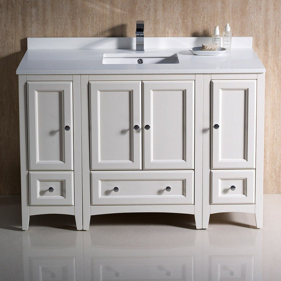 "Fresca Oxford 48"" Traditional Bathroom Cabinets with Top & Sink Fresca 48 inch Single Vanity"