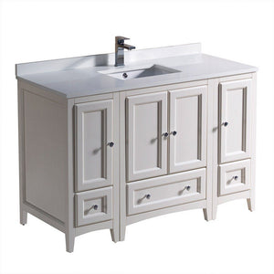 "Fresca Oxford 48"" Traditional Bathroom Cabinets with Top & Sink Fresca 48 inch Single Vanity Antique White"