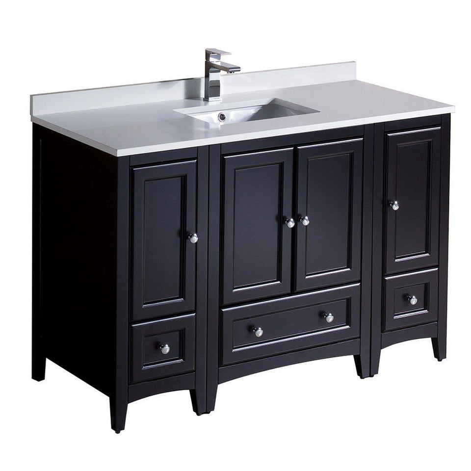 "Fresca Oxford 48"" Traditional Bathroom Cabinets with Top & Sink Fresca 48 inch Single Vanity Espresso"