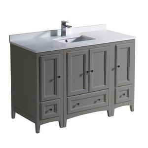 "Fresca Oxford 48"" Traditional Bathroom Cabinets with Top & Sink Fresca 48 inch Single Vanity Gray"