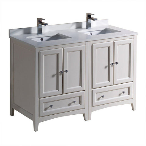 "Fresca Oxford 48"" Traditional Double Sink Bathroom Cabinets with Top & Sinks Fresca 48 inch Double Vanity Antique White"