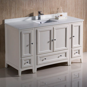 "Fresca Oxford 54"" Traditional Bathroom Cabinets with Top & Sink Fresca 54 inch Single Vanity"