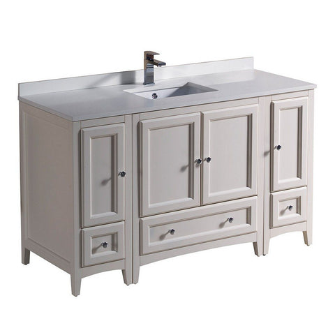 "Fresca Oxford 54"" Traditional Bathroom Cabinets with Top & Sink Fresca 54 inch Single Vanity Antique White"