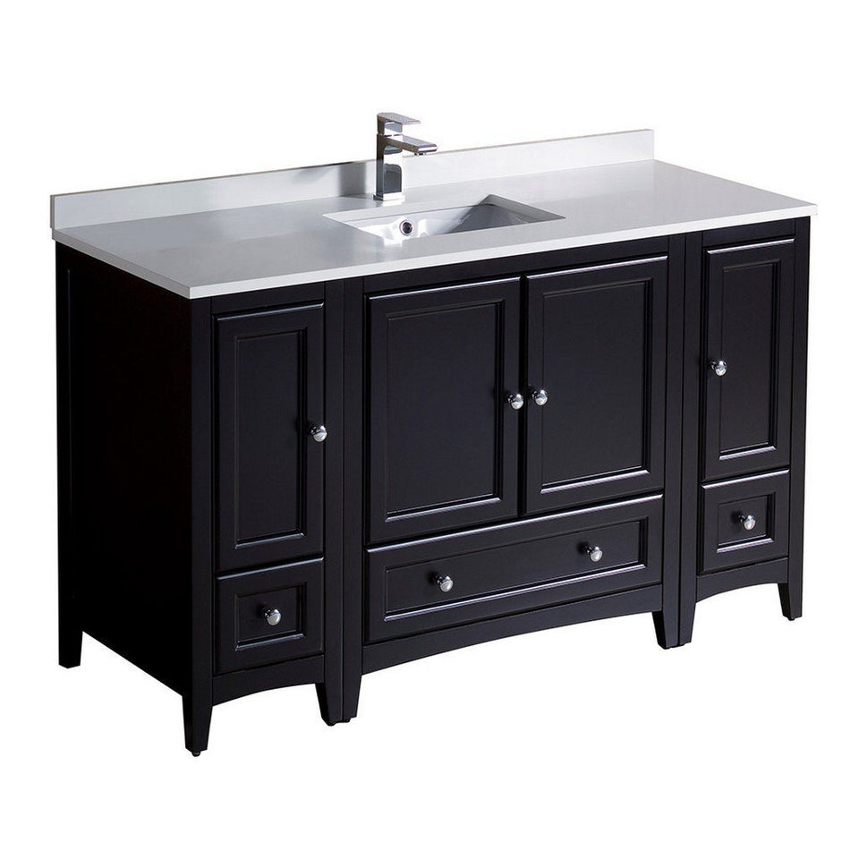 "Fresca Oxford 54"" Traditional Bathroom Cabinets with Top & Sink Fresca 54 inch Single Vanity Espresso"