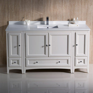 "Fresca Oxford 60"" Traditional Bathroom Cabinets with Top & Sink Fresca 60 inch Single Vanity"