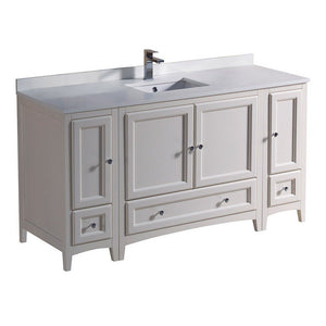 "Fresca Oxford 60"" Traditional Bathroom Cabinets with Top & Sink Fresca 60 inch Single Vanity Antique White"