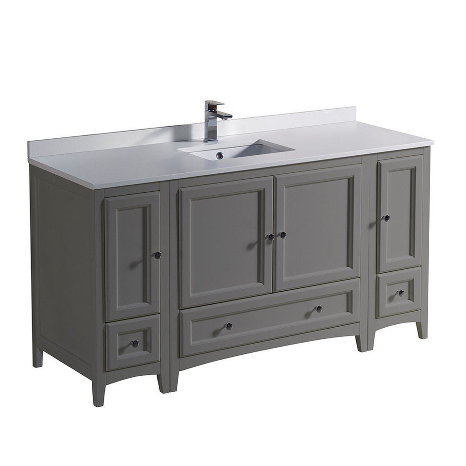 "Fresca Oxford 60"" Traditional Bathroom Cabinets with Top & Sink Fresca 60 inch Single Vanity Gray"
