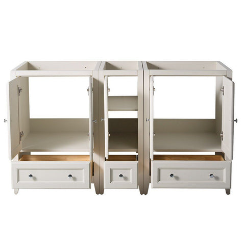 "Fresca Oxford 60"" Traditional Double Sink Bathroom Cabinets Only Fresca 60 inch Double Vanity Antique White"